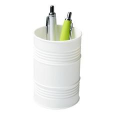 Portapenne in plastica a forma di barile - colore Bianco