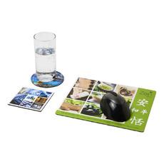 Set Q-Mat® 1 con tappetino per mouse e sottobicchieri - colore Nero