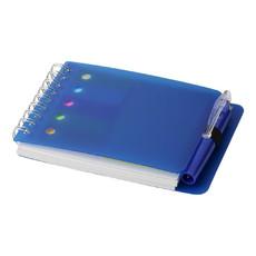 Blocco note con segnapagine e penna - colore Blu