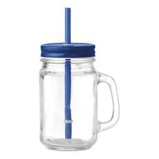 Bicchiere in vetro a forma barattolo colore blu
