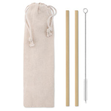 Set due cannucce in bamboo colore beige MO9630-13