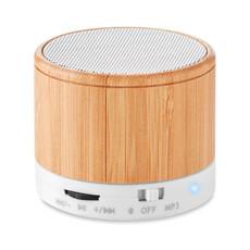 Speaker bluetooth rotondo in bamboo colore bianco MO9608-06