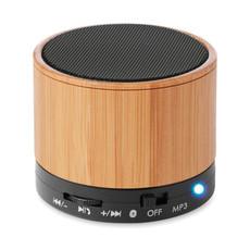 Speaker bluetooth rotondo in bamboo colore nero MO9608-03