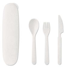 Set 3 posate in fibra di paglia colore bianco MO9744-06