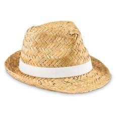 Cappello in paglia naturale con fascia colorata colore bianco MO9844-06