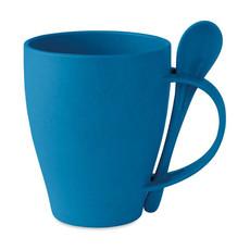 Tazza e cucchiaino in bamboo colore blu MO9832-04