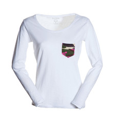 t-shirt donna con taschino a contrasto slubby jersey bianco Living Lady Payper