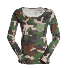 t-shirt donna con taschino a contrasto slubby jersey mimetico Living Lady Payper
