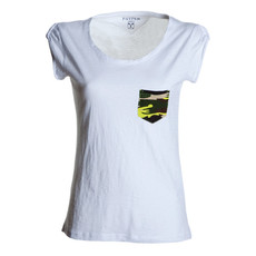 t-shirt donna manica corta con taschino slubby jersey Discovery Lady Pocket bianco Payper