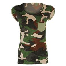 t-shirt donna manica corta con taschino slubby jersey Discovery Lady Pocket mimetico Payper
