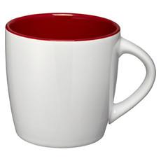 Tazza in ceramica lucida - colore Bianco/Rosso