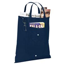 Shopper pieghevole in TNT con tasca frontale - colore Navy