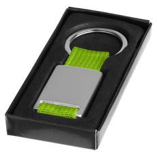 Portachiavi rettangolare in metallo - colore Argento/Verde Lime