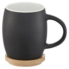 Tazza in ceramica bicolore con coperchio in legno - colore Nero/Bianco