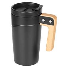 Tazza in ceramica con manico in legno - colore Nero