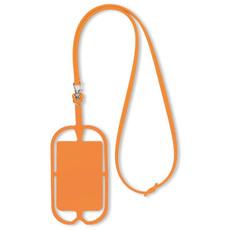 Porta smartphone da collo in silicone colore arancio MO8898-10