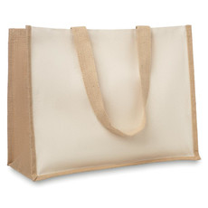 Shopperin in juta e canvas con interno laminato colore beige MO8967-13