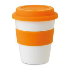 Bicchiere take away strato singolo con coperchio in silicone colore arancio MO8078-10