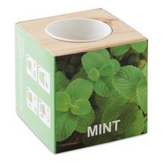 Mini vaso in legno con semi di menta colore legno MO9337-40