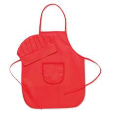 Cappello e grembiule da cucina per bambini colore rosso MO8410-05