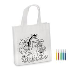 Mini borsa shopper da colorare con 5 pennarelli colore bianco MO8922-06