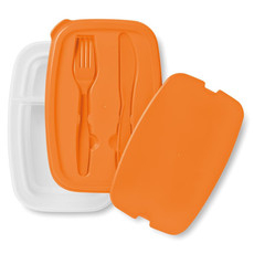 Porta pranzo con 2 comparti e porta posate colore arancio MO8518-10