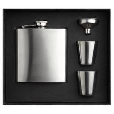 Set fiaschetta con due bicchierini e imbuto colore argento opaco MO8321-16