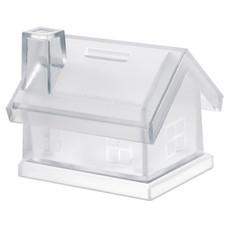 Salvadanaio a forma di casa in plastica trasparente colore trasparente MO7242-22