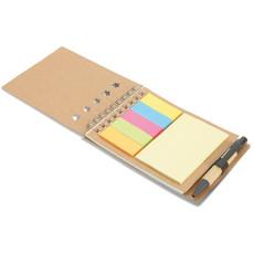 Blocco notes con penna e 40 fogli colore beige MO8107-13