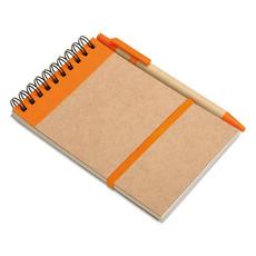 Blocnotes in carta riciclata con penna ecologica colore arancio IT3789-10