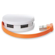 Cavo di ricarica lungo 14cm in box con 4 prese USB colore arancio MO8671-10