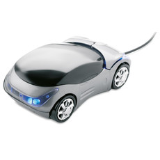 Mouse ottico USB a forma di automobile con 2 LED colore titanio MO7187-18