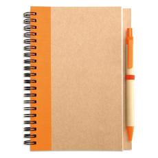 Notes ecologico con penna in carta e plastica biodegradabile colore arancio IT3775-10