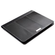 Portablocco A4 in pelle con placca di metallo per logo colore nero MO7163-03