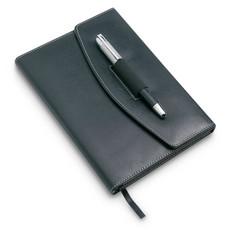 Portadocumenti A5 con 125 pagine e penna in metallo colore nero KC6856-03