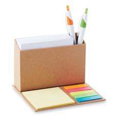 Set memo pad colorati a forma di porta penne colore beige MO8760-13