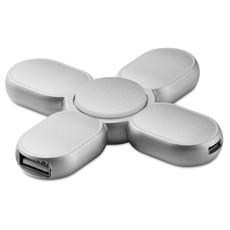 Spinner con 3 porte USB e cavo micro USB incluso colore argento MO9318-14