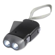 Torcia dinamo in ABS con 2 LED colore nero MO8235-03
