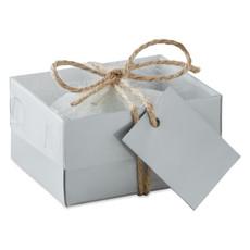 Candela a forma di sasso in scatola regalo di cartone colore grigio MO8978-07