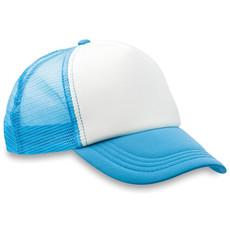 Cappello a 5 pannelli con chiusura a strappo e rete colore turchese MO8594-12