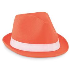 Cappello similpaglia in poliestere colorato con banda bianca colore arancio MO9342-10