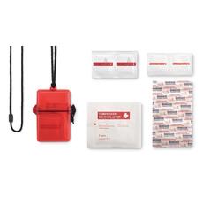 Kit primo soccorso imoermeabile in confezione di plastica colore rosso trasparente MO8979-25
