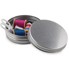 Set cucito in confezione di latta rotonda colore argento opaco MO8977-16