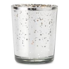 Portacandele in vetro con finiture lucide in confezione colore argento MO9378-14