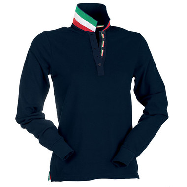 Polo piquet da donna a manica lunga, retro collo tricolore Long Nation Lady Payper