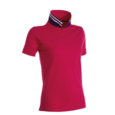 Polo piquet da donna, retro collo a righe bicolore