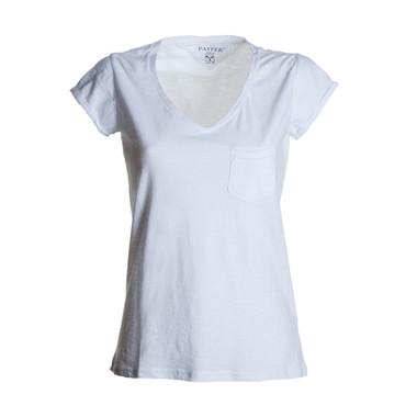 t-shirt donna manica corta collo a V slubby jersey bianco Wild Lady Payper