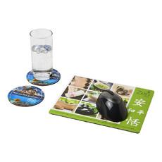 Set Q-Mat® 2 con tappetino per mouse e sottobicchieri - colore Nero