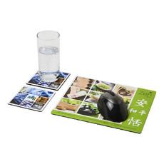 Set Q-Mat® 3 con tappetino per mouse e sottobicchieri - colore Nero