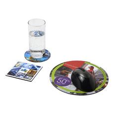 Set Q-Mat® 4 con tappetino per mouse e sottobicchieri - colore Nero